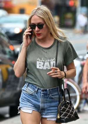Chloe Sevigny in Jeans Shorts Out in New York