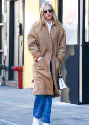 Chloe Sevigny in Long Coat - Out in New York City