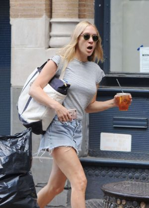 Chloe Sevigny in Shorts Out in New York