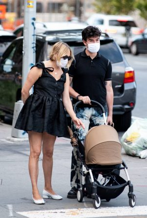 Chloe Sevigny with Sinisa Mackovic and their baby boy out in New York City