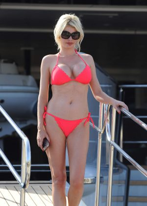 Chloe Sims in Bikini on a yacht in Cannes