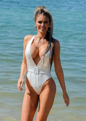 Chloe Sims in Swimsuit on the beach in Thailand
