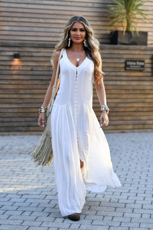 Chloe Sims - In white dress at The Only Way is Essex TV Show filming