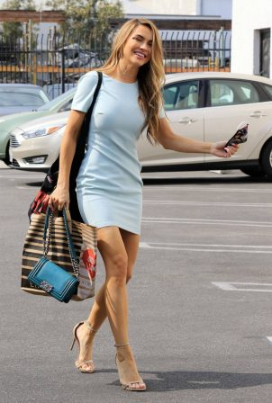 Chrishell Stause - In a light blue dress at the DWTS studio in Los Angeles