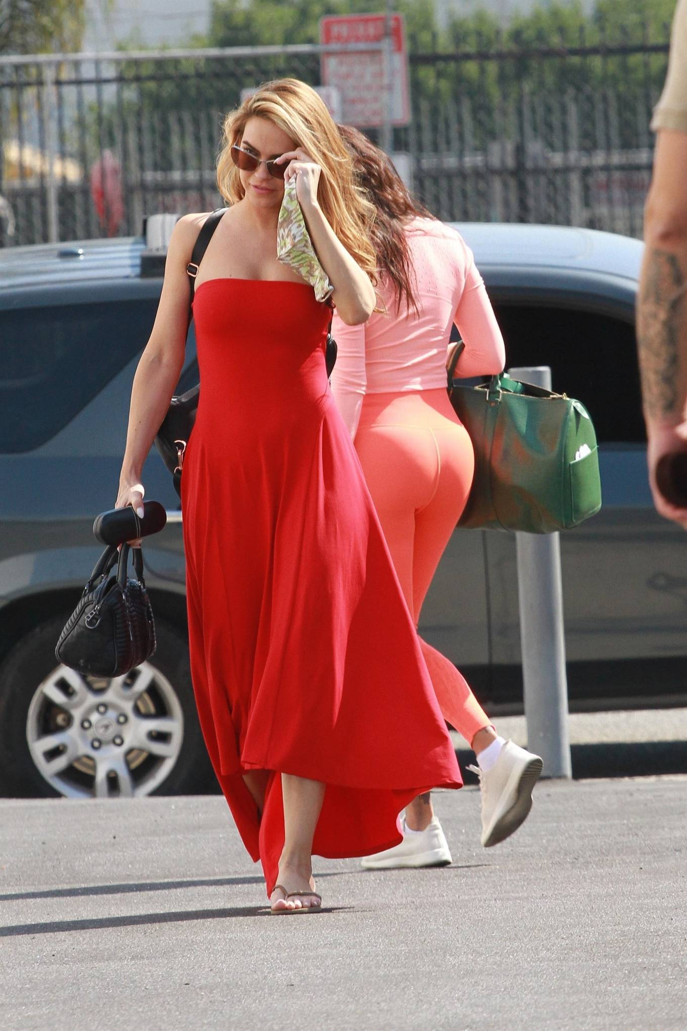 Chrishell Stause - In a red dress at DWTS studio in Los Angeles