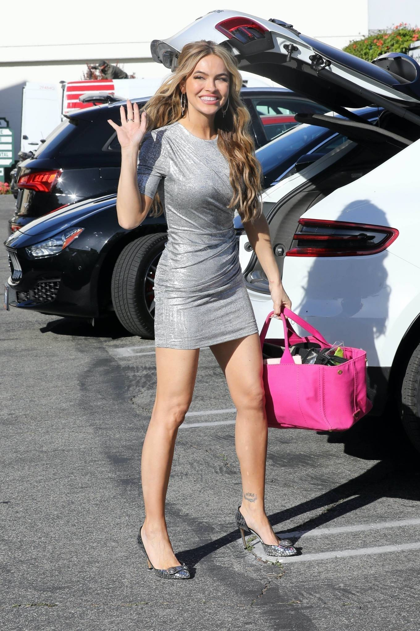 Chrishell Stause 2021 : Chrishell Stause – In a short silver dress on Selling Sunset set in West Hollywood-04