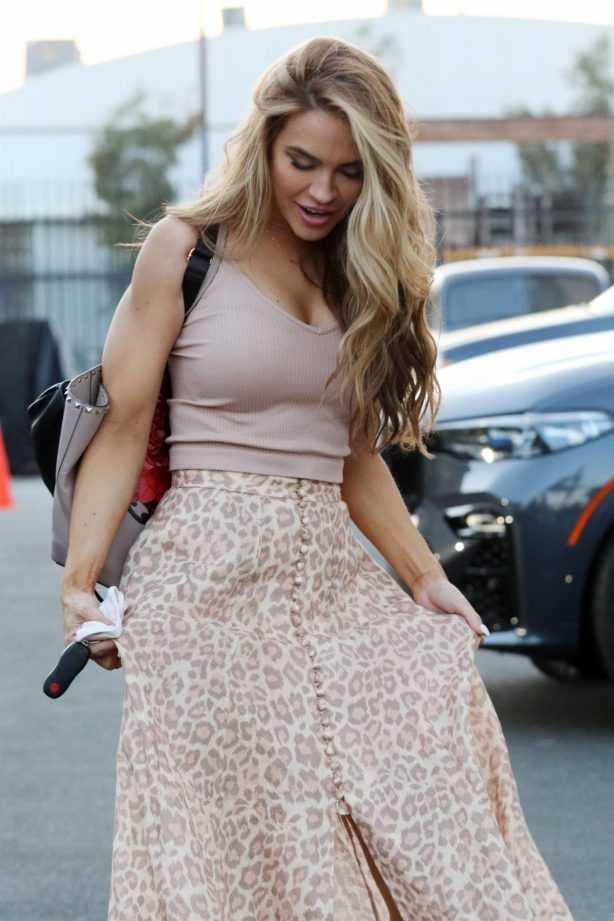 Chrishell Stause - In an animal print skirt at a DWTS studio in Los Angeles
