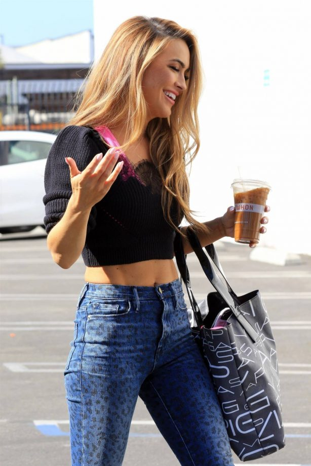 Chrishell Stause - In denim pants arriving at the DWTS Studio in Los Angeles