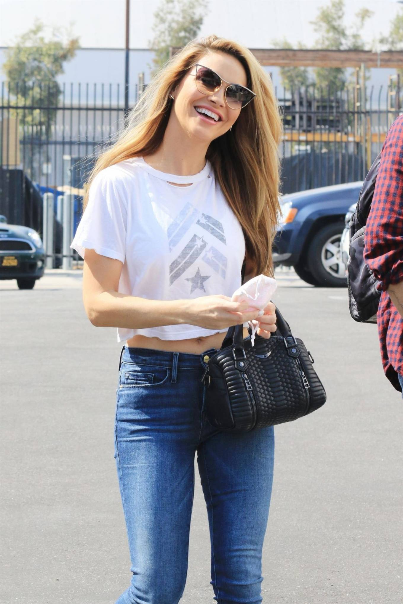 Chrishell Stause - In denim seen arriving at DWTS Studio in Los Angeles