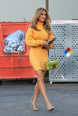 Chrishell Stause - In golden sweater dress out in West Hollywood