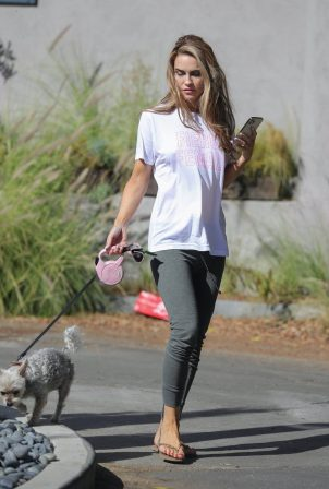 Chrishell Stause - Look relaxed while walking her dog in Los Angeles