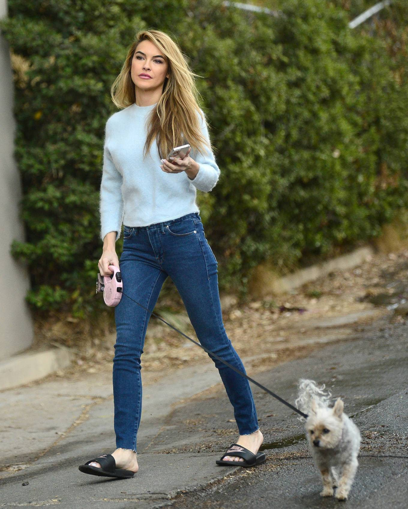 Chrishell Stause - Out for a walk with her dog in the Hollywood Hills