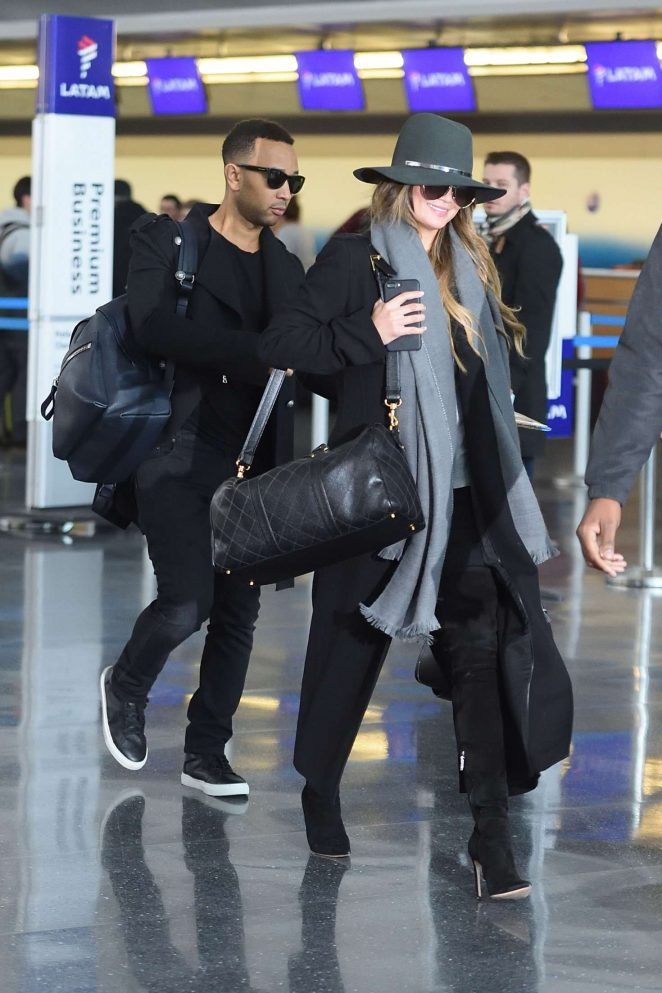 Chrissy Teigen and John Legend at JFK airport in NYC