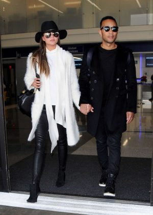 Chrissy Teigen and John Legend at LAX airport in Los Angeles
