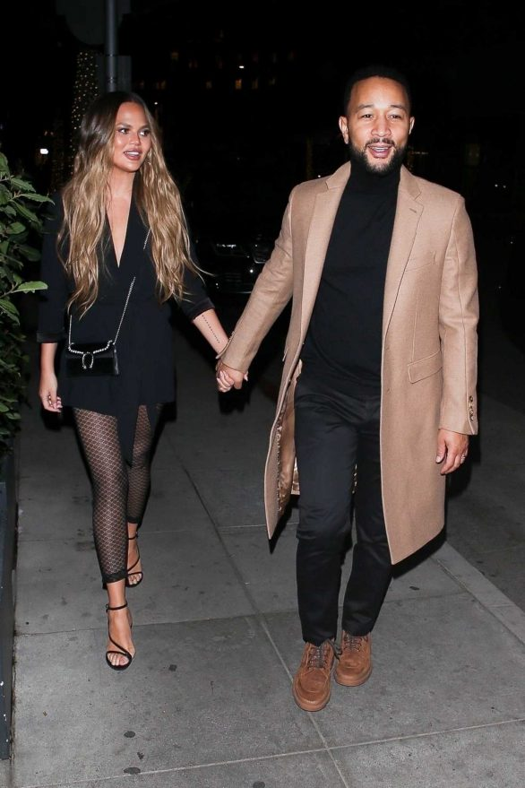Chrissy Teigen and John Legend at Madeo Restaurant in Beverly Hills