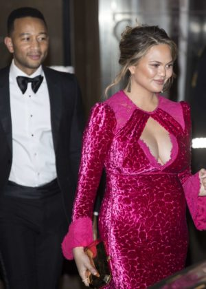 Chrissy Teigen and John Legend - Leaves at Nobel Peace Prize banquet in Oslo