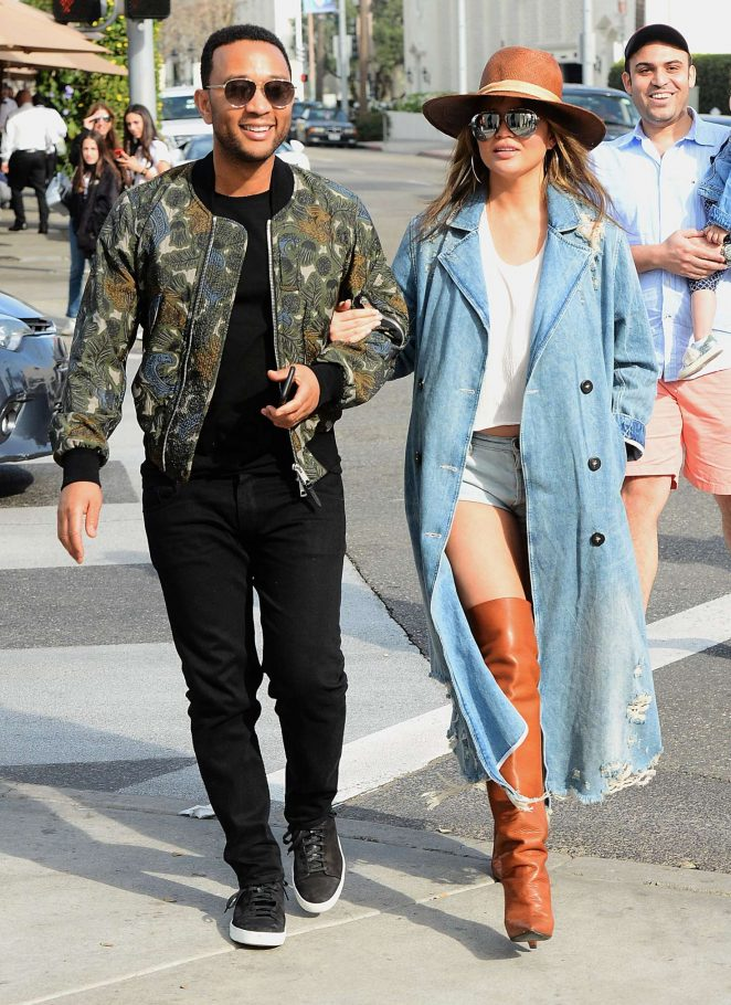 Chrissy Teigen and John Legend - Leaving Il Pastaio in Beverly Hills