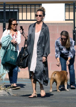 Chrissy Teigen - Arriving at a photoshoot for her cook book in LA