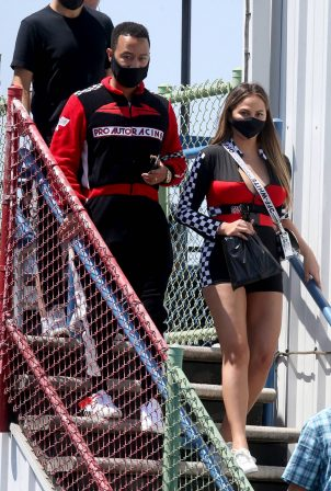 Chrissy Teigen - Arriving at Go Kart World in Carson