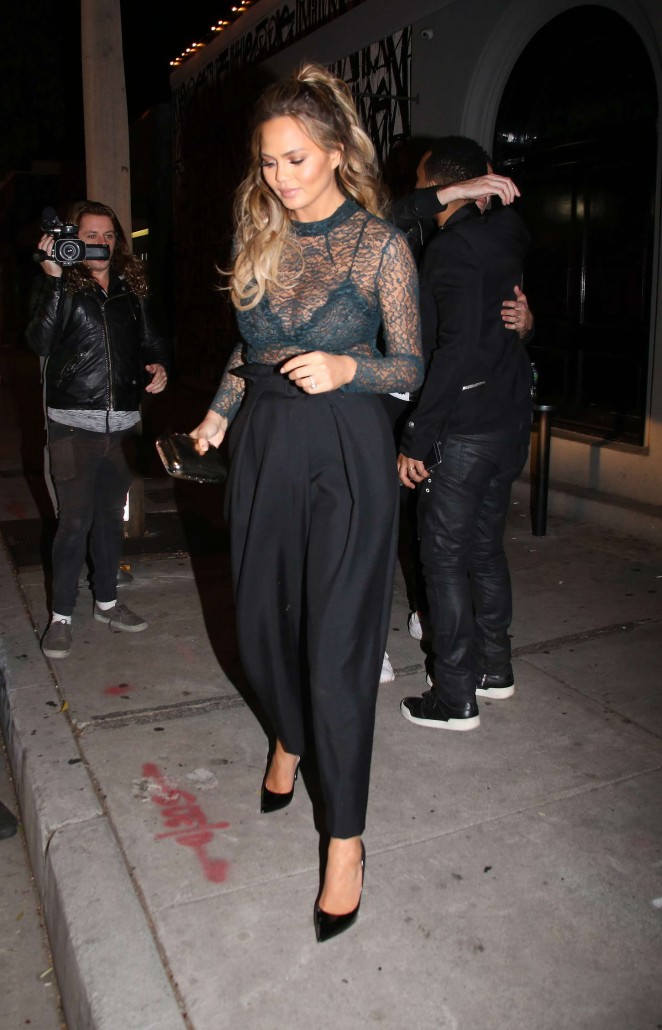 Chrissy Teigen at Craig's Restaurant in West Hollywood