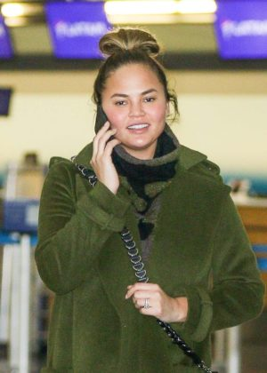 Chrissy Teigen at LAX International Airport in Los Angeles