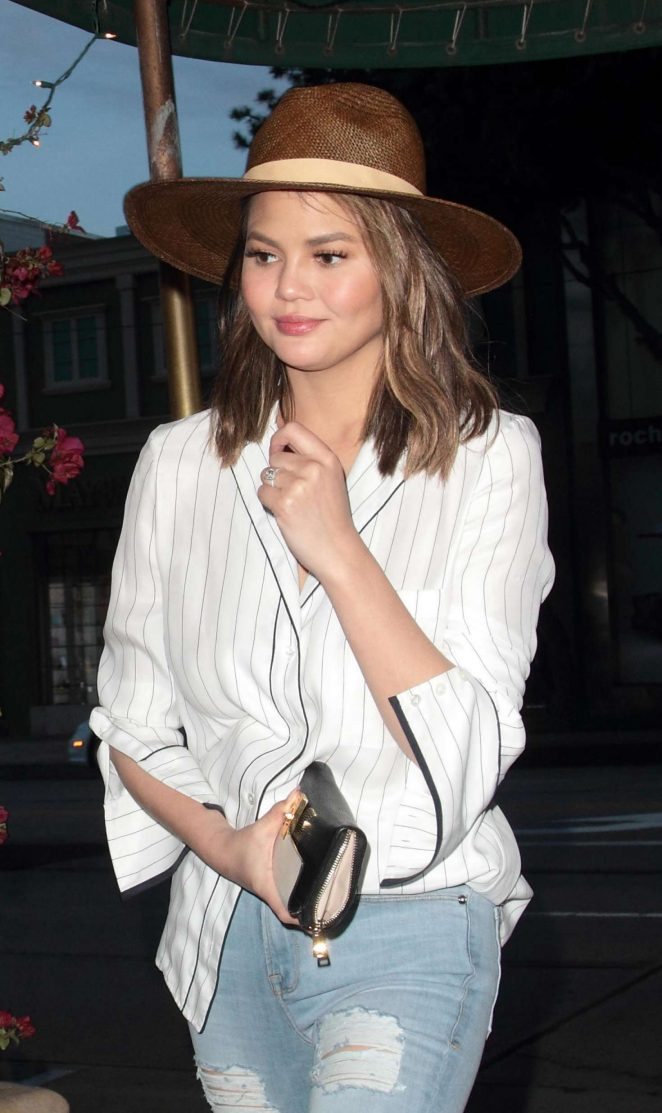 Chrissy Teigen at Madeo restaurant in LA