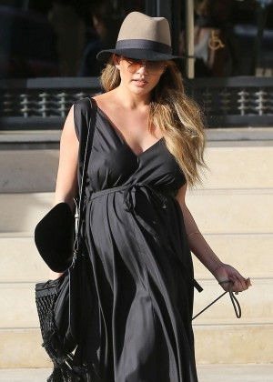 Chrissy Teigen in Black Long Dress at Barneys New York in LA