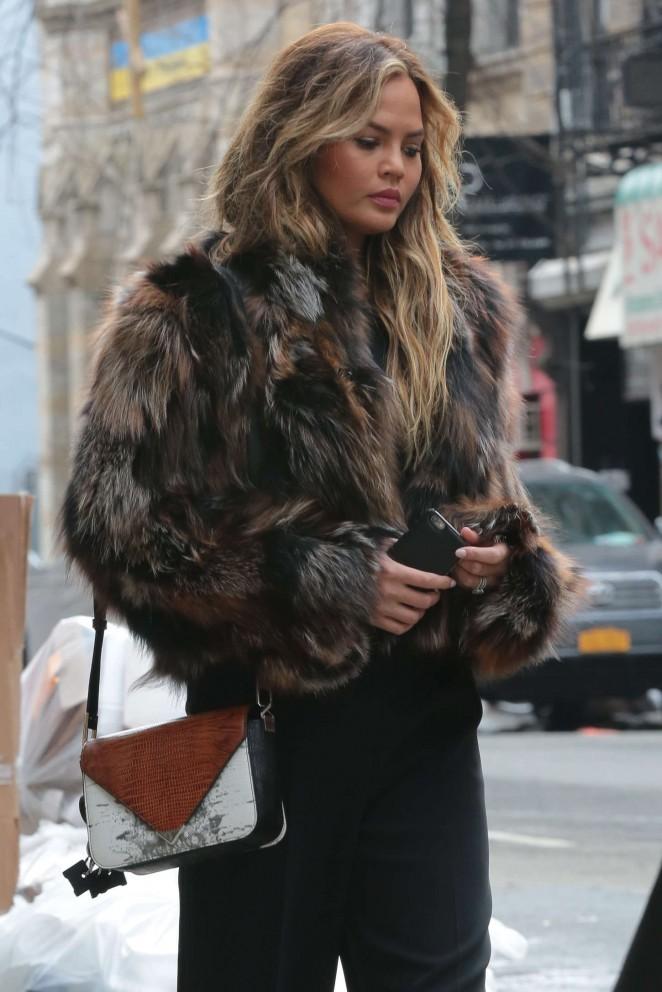Chrissy Teigen in Fur Coat Out in NYC