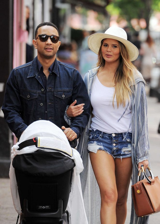 Chrissy Teigen in Jeans Shorts out in NYC