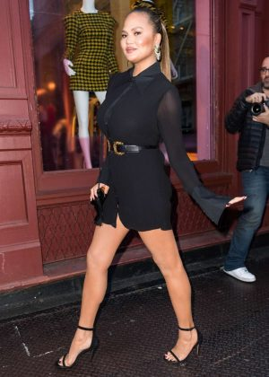 Chrissy Teigen in Short Black Dress - Attends a store opening in NY