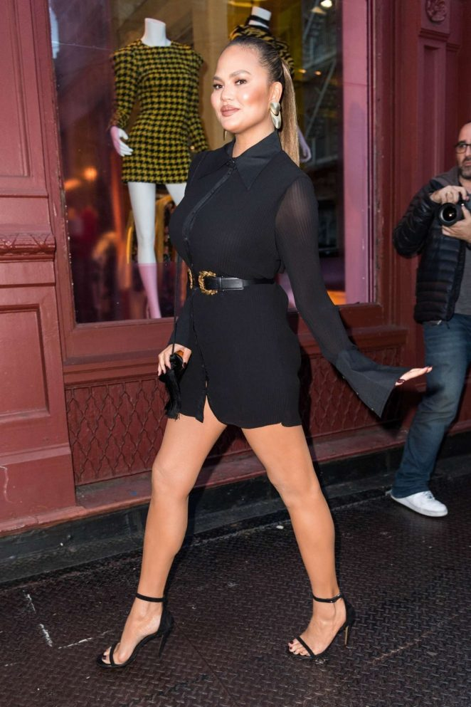 Chrissy Teigen in Short Black Dress - Attends a store opening in NY