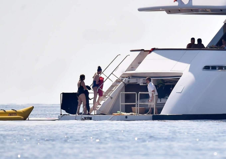 Chrissy Teigen in Swimsuit on the yacht in Portovenere