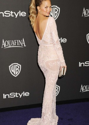 Chrissy Teigen - InStyle And Warner Bros Golden Globes Party 2015 in Beverly Hills