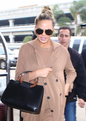 Chrissy Teigen - LAX airport in Los Angeles