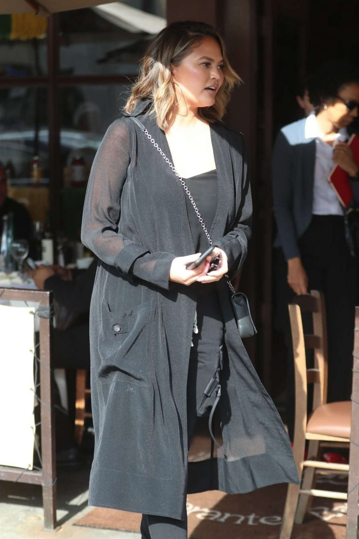 Chrissy Teigen - Leaving Il Pastaio in Beverly Hills