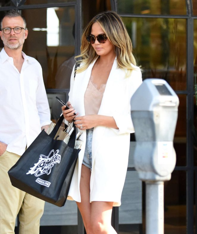 Chrissy Teigen Leaving Meche salon in Beverly Hills