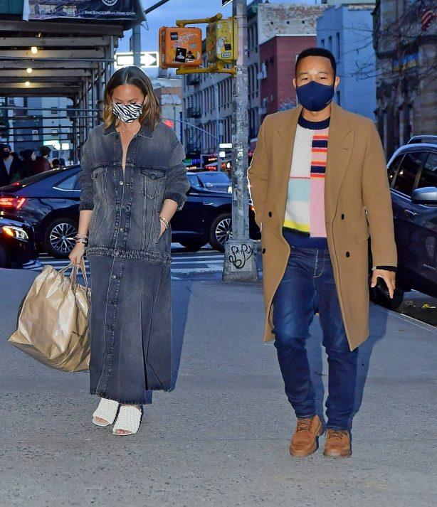 Chrissy Teigen - Night out in denim dress with John Legend in New York