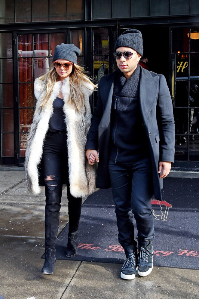 Chrissy Teigen – Out and about in NYC