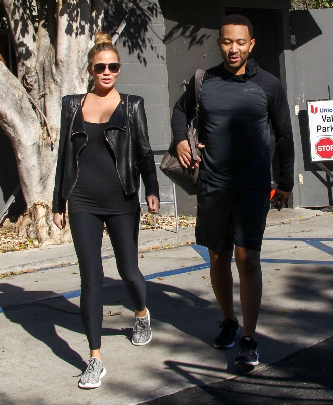 Chrissy Teigen in Tights out in LA