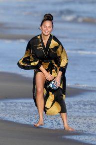 Chrissy Teigen seen on beach in Malibu