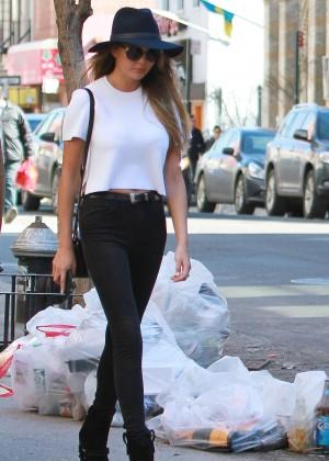 Chrissy Teigen in black jeans out in NYC