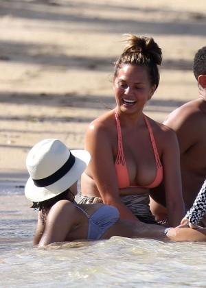 Chrissy Teigen in Bikini in the Caribbean