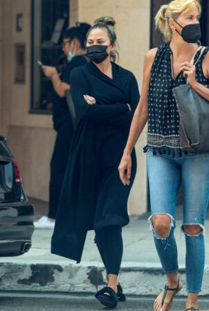 Chrissy Teigen - With a friend at Anastasia beauty salon and spa in Beverly Hills