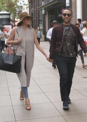 Chrissy Teigen with John Legend Shopping in Hollywood