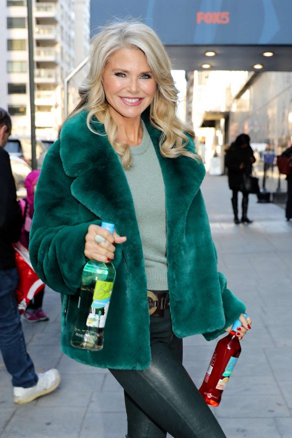 Christie Brinkley in Green Coat and Leather Pants - Out in NYC