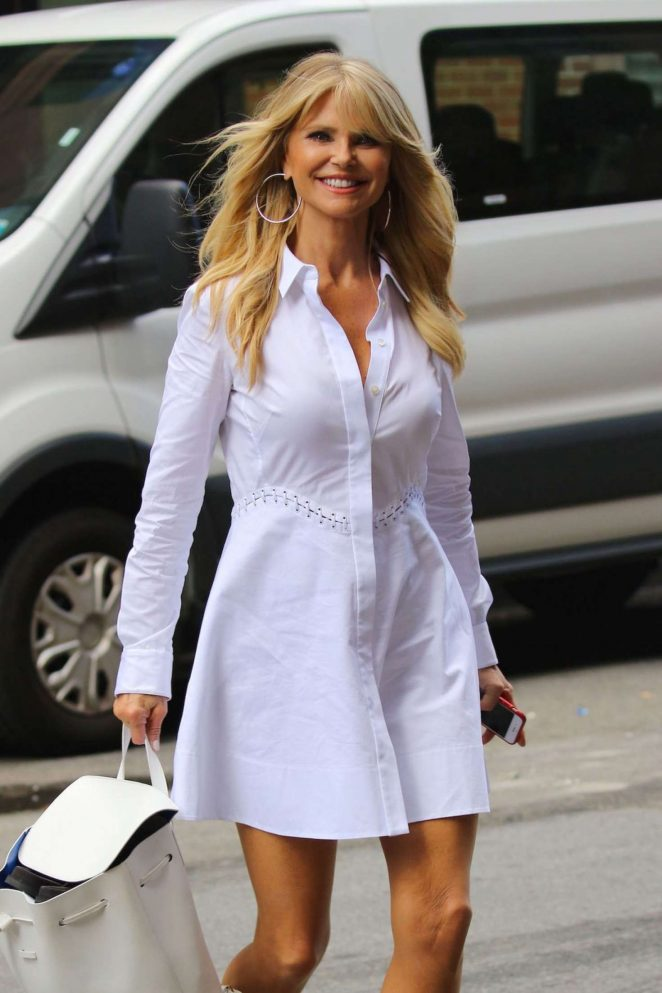 Christie Brinkley in White Dress Out in New York
