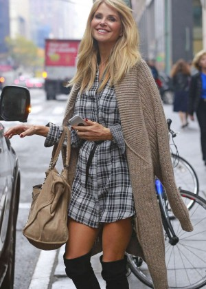 Christie Brinkley in Short Dress out in NYC