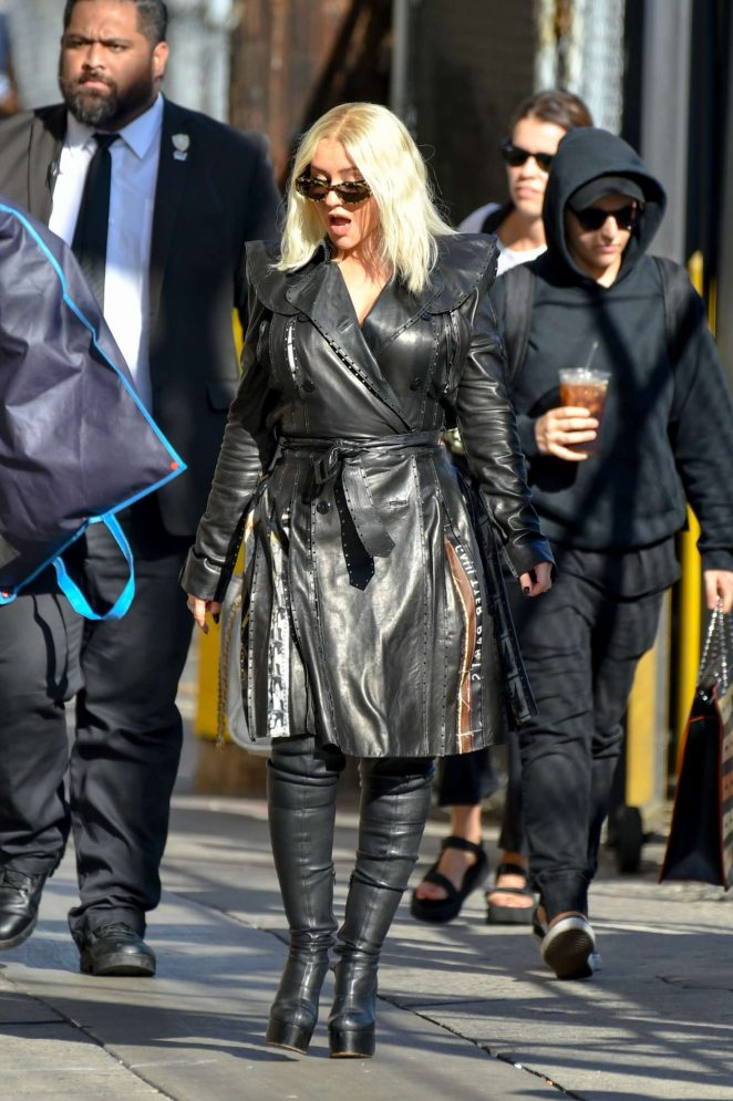 Christina Aguilera - Arrives at Jimmy Kimmel Live in Hollywood