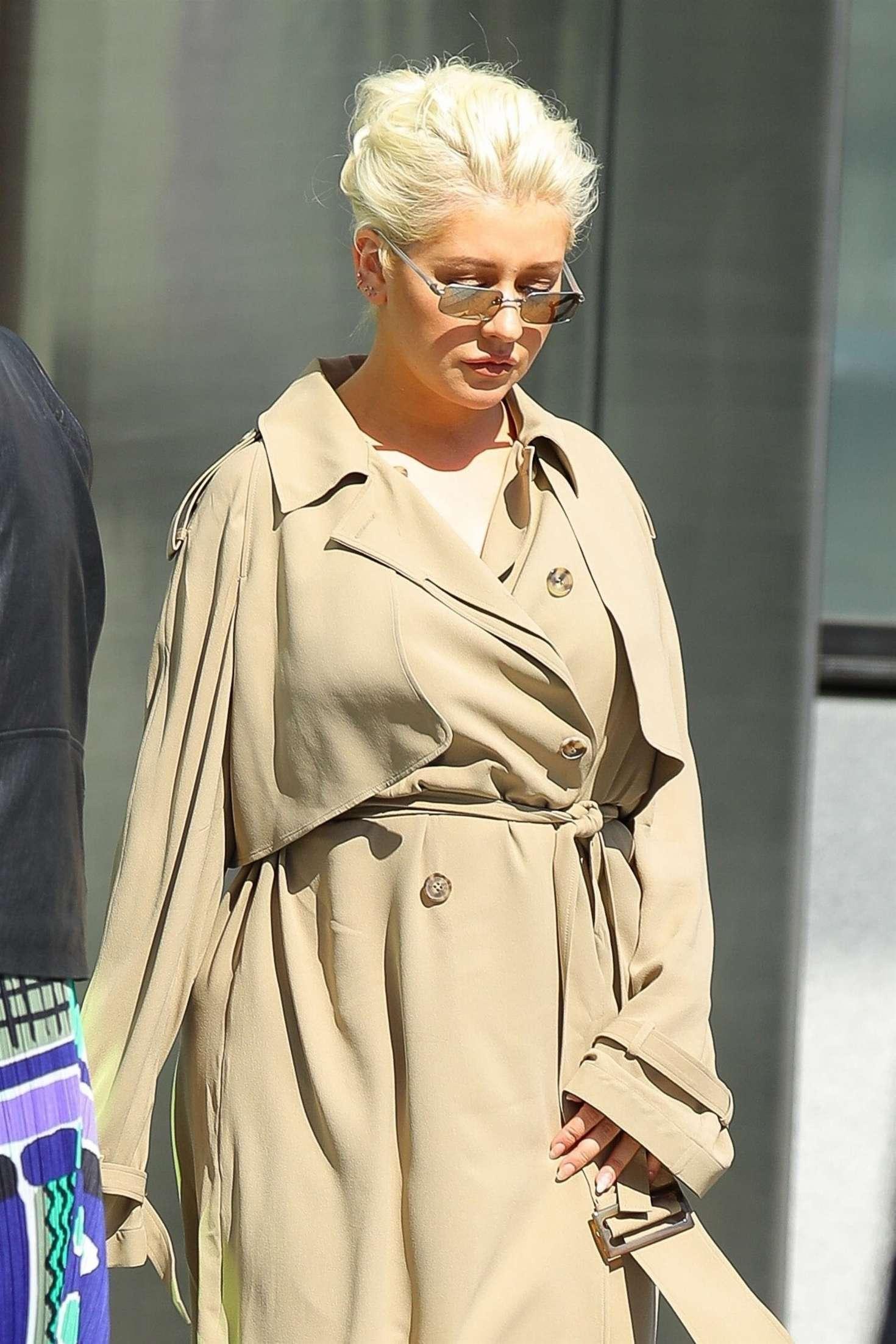 Christina Aguilera in Beige Trench Coat in New York City