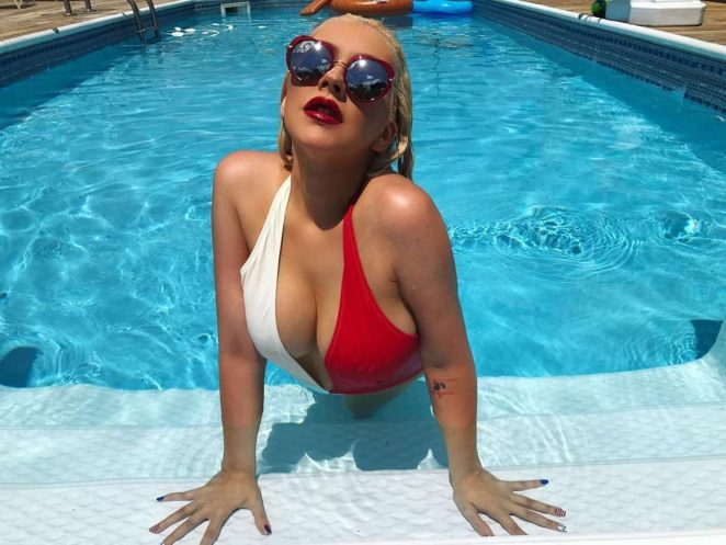 Christina Aguilera in Swimsuit – Instagram